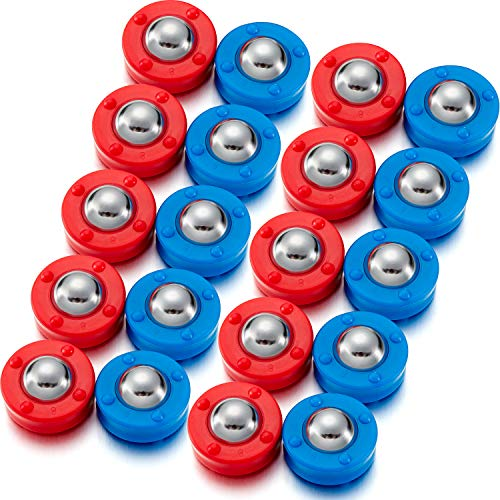 Mudder 24 Pieces Shuffleboard Replacement Pucks Mini Shuffleboard Equipment Pucks Shuffleboard Curling Accessories Home Game for Family Fun, Red and Blue