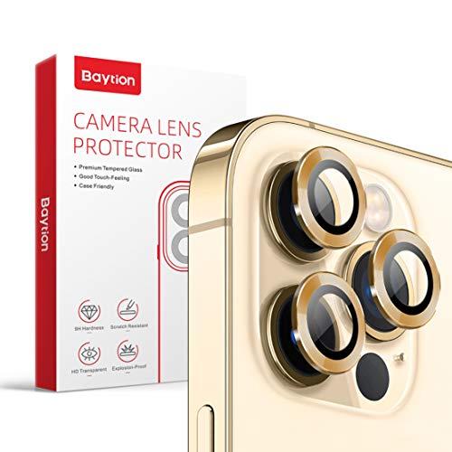 Baytion [3] Panzerglas Kamera Schutzfolie für iPhone 12 Pro 6.1',Aluminiumlegierung 360 Grad Linsenschutz [Anti-Kratzen] [Fall-freundlich],Gold
