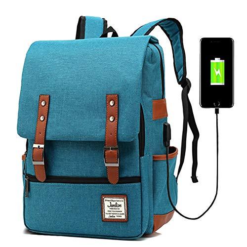 Junlion Unisex Business Laptop Zaino College School Borsa da viaggio Zaini Daypack con porta di ricarica USB Blu
