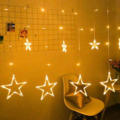 2.5 m 138 LEDs Star Moon Fairy Lights Christmas String Light Garland LED Home Star for Wedding/Party/Birthday/Garland Decor-changeable_EU Plug
