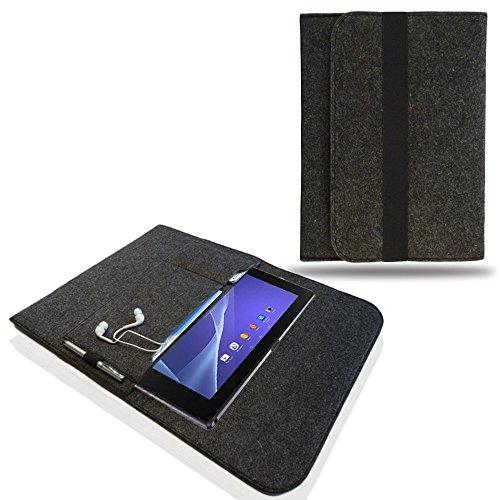 NAUC Tasche Hülle für Odys Winpad V10 Filz Sleeve Schutzhülle Case Cover Bag, Farben:Dunkel Grau