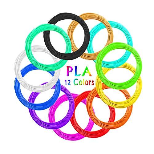 AKNMSOY Filament pour stylo 3D 12 couleurs 1,75 mm 10 pieds par couleur au total 200 pieds pour imprimante 3D Filament Filament pour...