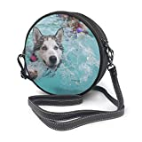 Bolso bandolera de piel auténtica con correa ajustable para el hombro para mujer, perro, cachorro, Huskies Siberian Husky