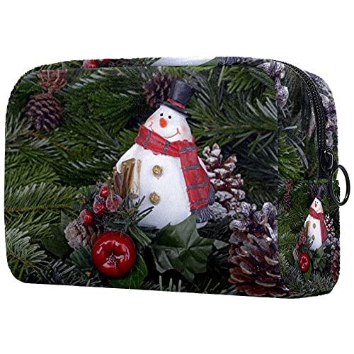 Makeup Case Trousse de Maquillage Pochette Maquillage de Voyage Petit Trousse de Toilette Imperméable Portable pour Femme Christmas Snowman Pine Cone