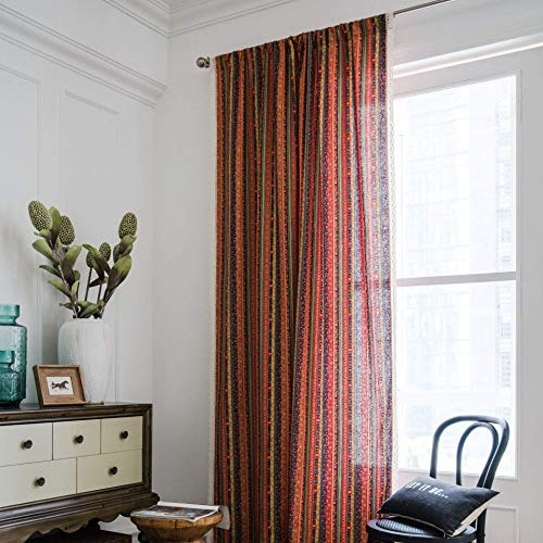 """BBSET Red Bohemian Striped Window Curtain Panel with White Lace Rod Pocket Colorful Vintage Thin Semi-Blackout Cotton Linen Drapes for Bedroom Dining Living Room,1 Panel, 59""""x87"""""""