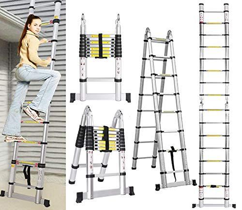 5m Échelle Télescopique en Aluminium, Échelle télescopique Extensible, 2 en 1 Escabeau Telescopique Échelle Pliable Loft Ladder 16...