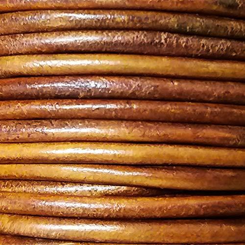 Lederen riem, lederen band rond 5mm echt leer, volledig leer, vanaf 1 meter tot 20 meter in één stuk 5mm Cognac antiek