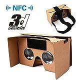 Virtual Reality Brille, Virtuelle Realität Google Cardboard V2.0 VR 3D Brille aus Pappkarton für 3.5 bis 6.0 Zoll Display universal Smatphones (iPhone & Android Handy) mit NFC & Kopfband