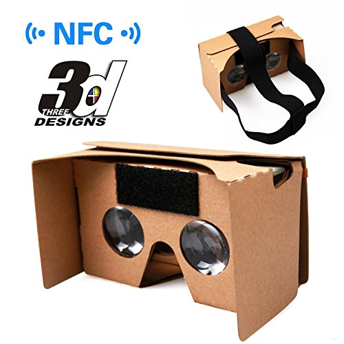 Virtual Reality Brille, Virtuelle Realität Google Cardboard V2.0 VR 3D Brille aus Pappkarton für 3.5 bis 6.0 Zoll Bildschirm universal Smatphones (iPhone und Android Handy) mit NFC und Kopfband