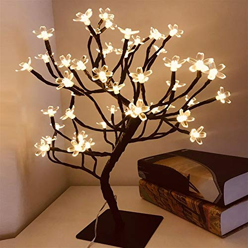 Huoguo 24/36/48 LED USB Cherry Plum Blossom Tree Light Table Lamps Night Light for Home Indoor Bedroom Wedding Party Bar Decoration (Color : 48LEDs)