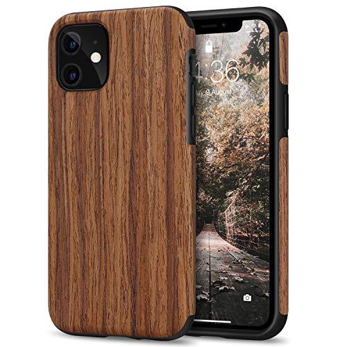 Tasikar Kompatibel mit iPhone 11 Hülle Holz Design Hybrid Handyhülle Weiche Schutzhülle Hülle (Redwood)