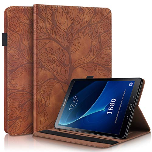 i-Case Universal Tablet Case for Samsung Galaxy Tab A 10.1 2016 Flip Cover PU Leather Stand Case Folio for Multi-functional [2 Card Slots][Stylus Loop][Elastic Band] Case Samsung Tab A 10.1 2016,Brown
