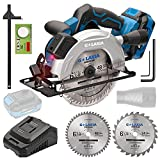 """G LAXIA DC-20V 6-1/2"""" Cordless Circular Saw with Laser Guide, 2Pcs Blades (24T+48T), 4300RPM Variable Speed, Includes 4.0Ah Lithium Battery and Charger, Max Cutting Depth 1-5/8""""(90°), 1-7/16""""(45°)"""