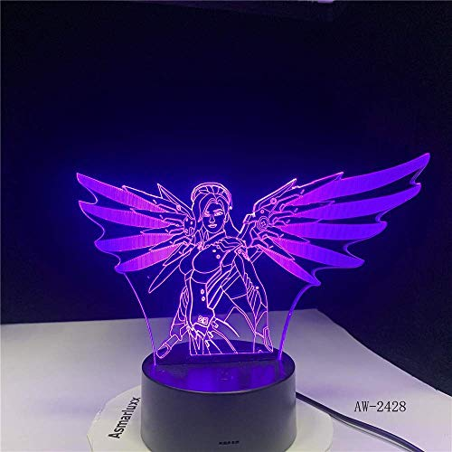 Neuheit Lampe, Frau mit Flügel-Lampe 7 Farbe führen Nachtlampen for Kinder Touch-LED USB-Baby-Schlafsäcke