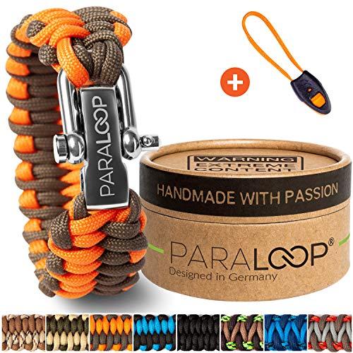 PARALOOP ORIGINAL Paracord Armband für Männer + Anhänger mit Signalpfeife in Handarbeit geflochten mit Geschenkbox Verschluss aus Edelstahl Armbänder Herren Orange Braun