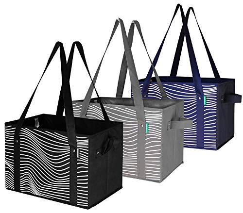 Earthwise - Juego de 3 cajas de almacenamiento plegables y reutilizables, con parte inferior reforzada, cajas de almacenamiento de cubos para comestibles, Negro/gris/azul marino,...