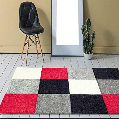 VIMODA Designer Teppich Modern Kariert Handgeschnittene Konturen, ÖKO TEX Zertifiziert - Pflegeleicht, Farbe Rot Grau Schwarz, Maße:80 x 300 cm
