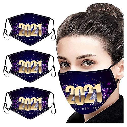 LANJIA Protective Face Mouth Nose Covers Wiederverwendbarer Neujahrstag für Erwachsene 2021 Bedruckte staubdichte, waschbare Baumwolle 𝓶á𝓼𝓴