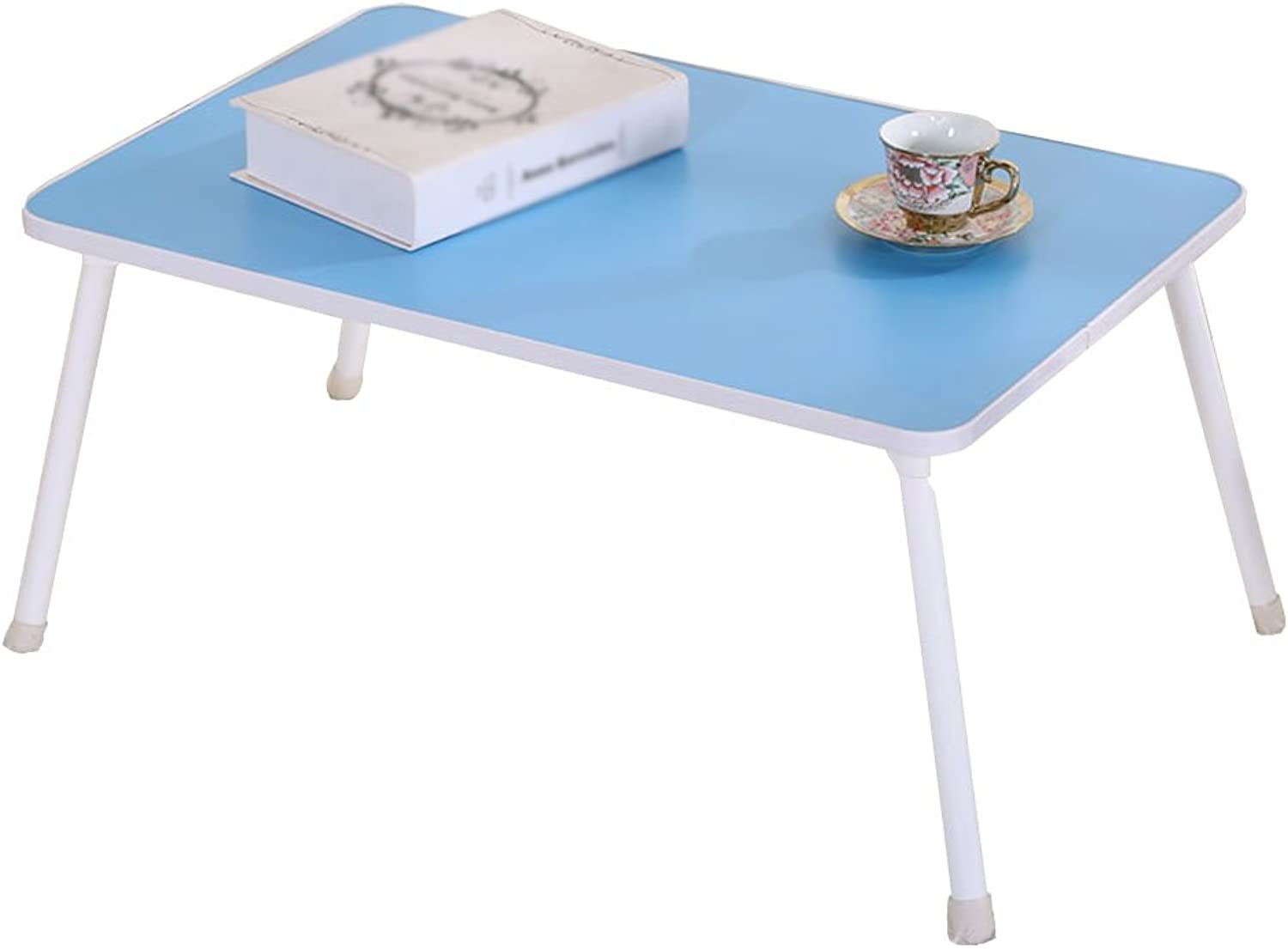Chunlan Folding Table Simple Bed Laptop Desk Portable Writing Desk Dining Table No Assembly Required, 60  40  28cm (color   bluee 60  40  28cm)