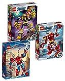 LEGO Juego de 3 piezas de Marvel Mechs 76140 Iron Man Mech + 76141 Thanos Mech + 76146 Spider-Man Mech