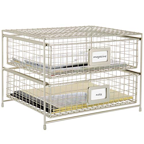 MyGift 2-Tier Brass-Tone Metal Document Organizer Pull-Out Trays with Label Holder Desk Tray Stacking Support
