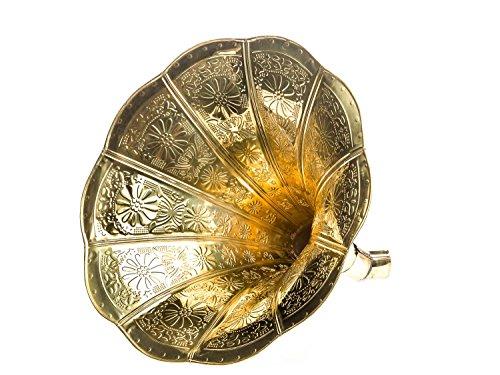 aubaho Trichter Grammophon Horn goldfarben mit Verzierungen im antik Stil