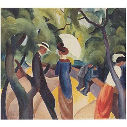 Paseo de August Macke (1913) Reproducciones de pinturas Pintura al óleo firmada por el autor Impreso en lienzo - 70x80cm Sin marco