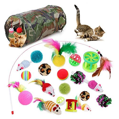 Yves25tate 21 Stück Katzenspielzeug Sortiert, Katzentunnel Katzenminze Fisch Feder Teaser Zauberstab Fisch Flauschige Maus Spiele Bälle Und Glocken Spielzeug Set Für Katze, Kätzchen, Kätzchen