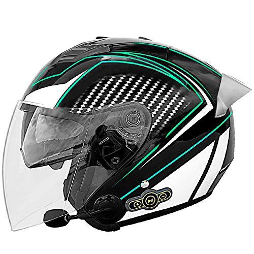 Casco Moto Abierto Medio Casco Bluetooth Casco Moto Jet Half-Helmet con Visera ECE Homologado Casco Abierto de la Motocicleta Scooter Casco para Adultos Hombres Mujeres P,XL=61~62cm