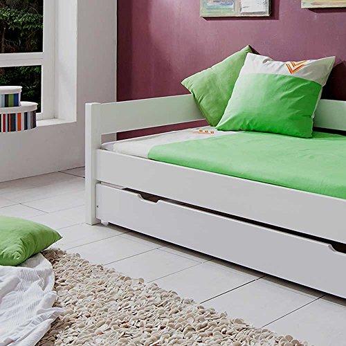 Kinderbett mit Gästebett Weiß Bettkasten Nein Pharao24 - 3
