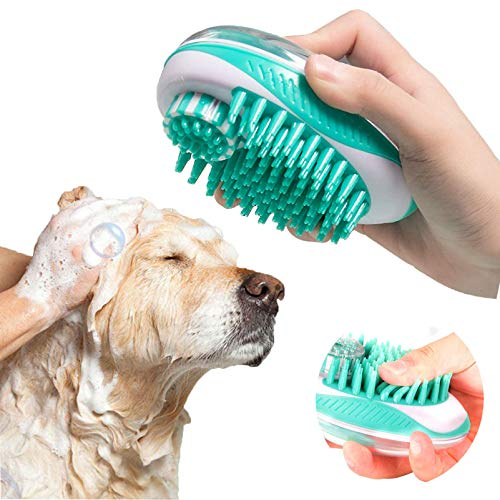 SyoLin 2 in 1 Pet Brush Bath Massage Brush,Shampoo Dispenser for Pet Grooming,Deshedding Soft Silicone Bristles Perfect for Washing,Massaging Hair,Remove Loose Fur (white)