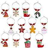 Cabilock Christmas Wine Glass Ring Charms Tags Holiday Wine Glass Buckle Glass Goblet Drink Markers Wine Favors Champagne Cocktail Recognizer Xmas Table Decor 12pcs