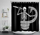 PSB Halloween-Skelett gegen riesigen Schlangen-Duschvorhang & Haken-Badezimmerzubehör