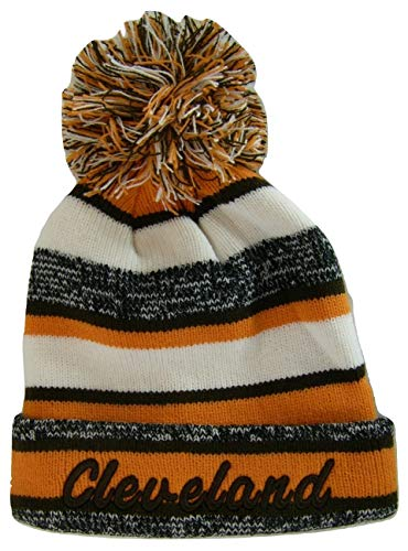 BVE Sports Novelties Cleveland 4-Color Embroidered Adult Size Thick Winter Knit Pom Beanie Hat (Brown Script)