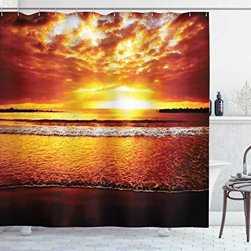 ABAKUHAUS Ozean Duschvorhang, Bunte Sonnenuntergang Sommer, Wasser Blickdicht inkl.12 Ringe Langhaltig Bakterie & Schimmel Resistent, 175 x 180 cm, Braun Gelb
