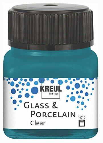 Kreul 16216 - Glass & Porcelain Clear türkis, im 20 ml Glas, transparente Glas- und Porzellanmalfarbe auf Wasserbasis, schnelltrocknend, glasklar