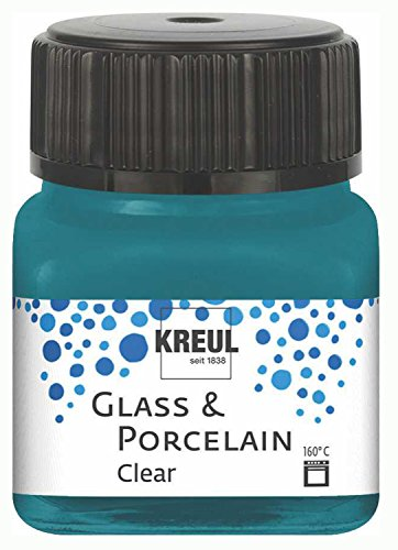 Kreul 16216 - Glass und Porcelain Clear, transparente Glas- und Porzellanmalfarbe auf Wasserbasis, schnelltrocknend, glasklar, 20 ml im Glas, türkis