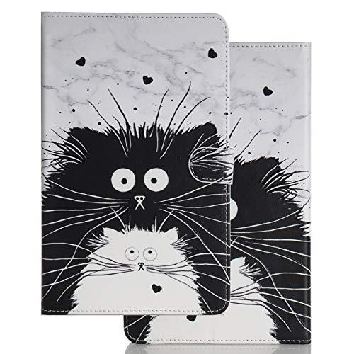 Hülle für PC Tablette Universal 10 Zoll (9.5-10.5 Zoll) - Tasche Leder Flip Hülle Etui Schutzhülle Cover für 9.6 9.7 10.1 10.2 10.4 10.5 Tablet, Schwarzweiss-Katze