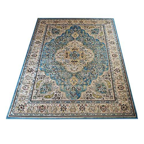 WEBTAPPETI.IT Teppich für Wohnzimmer, orientalischer Stil, klassisch, Silk 8540, Ardebil, Hellblau, 140 x 200 cm