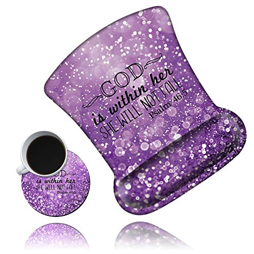 Ergonomic Mouse Pad with Wrist Support Gel Mouse Pad with Wrist Rest, Comfortable Computer Mouse Pad, Pain Relief Mousepad with Non-Slip Rubber Base for Office & Home + Cup Coaster, Purple Psalm 46:5