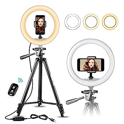 "UBeesize 10"" Selfie Ring Light with 50"" Extendable Tripod Stand & Flexible Phone Holder for Live Stream/Makeup, Mini Desktop Led Camera Ringlight for YouTube Video from UBeesize"