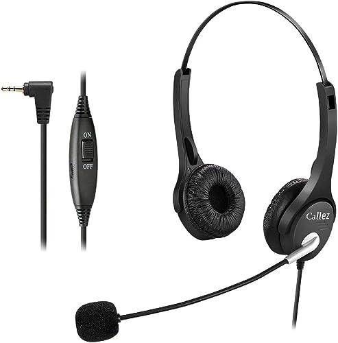 Callez Casque Téléphone Fixe sans Fil de 2,5 mm Dual avec Micro Anti-Bruit, Contrôle de Volume, Oreillette de Centre ...
