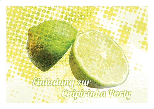 Sonnige Sommer Party Einladungskarte mit Limette: Einladung zur Caipirinha Party • auch zum direkt Versenden mit ihrem persönlichen Text als Einleger. • laden Sie Freunden & Familie ein um Geburtstag, Abschluss, das Leben zu feiern