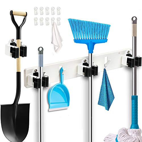 Broom Holder Wall Mount 12 Pack with Sturdy Holders Plus 1 Broom Mop Holder Rack for Garden Tool Organization Up to 13quot amp 10 Hooks for Kitchen Bathroom Garage Utility Closet Organizer Pantry