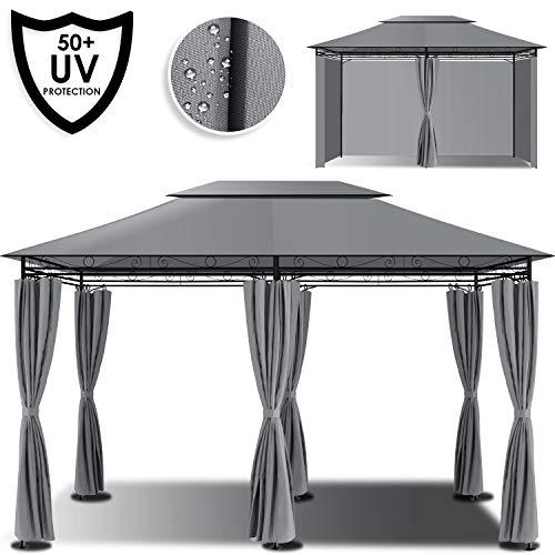 Kesser® - Pavillon 3x4m inkl. Seitenwände mit Reißverschlüsse, Eckig Festzelt Partyzelt Gartenlaube Gartenzelt Gartenpavillon UV-Schutz 50+, Grau