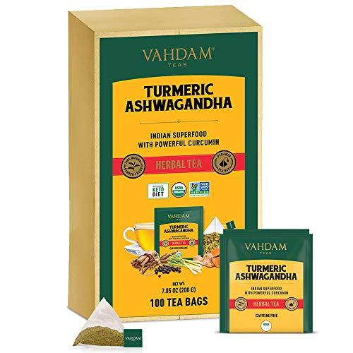VAHDAM, Organica te de hierbas SUPERFOOD potente de curcuma + jengibre (100 Bolsitas De Te) | Potentes propiedades de bienestar y curacion de la curcuma con de jengibre | Te de desintoxicacion