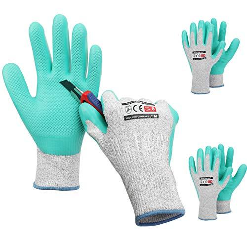 HAUSHOF 3 Pairs Latex Coated Working Gloves, Level 5 Cut Resistant Garden Gloves for Gardening, Restoration Work, Medium