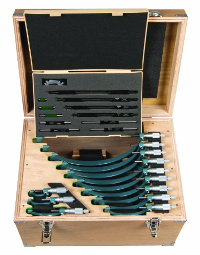 Mitutoyo 103-908-40 Outside Micrometer Set with Standards, 0-12' Range, 0.0001' Resolution, 12 Pieces