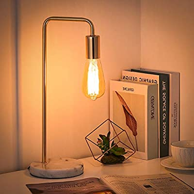 Shinoske Industrial Desk Lamp, Edison Bulb Nightstand Lamp Bedside Table Lamp with Marble Base for Bedroom, Living Room, Dorm, Office - Without Bulb (Black)