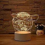 Luz Nocturna ,Lámpara De Ilusión Óptica Led 3D Con Placas Acrílicas De Patrones,Lámpara De Visualización Creativa Usb Regalo Para Niños,Tierra Del Aeroplano